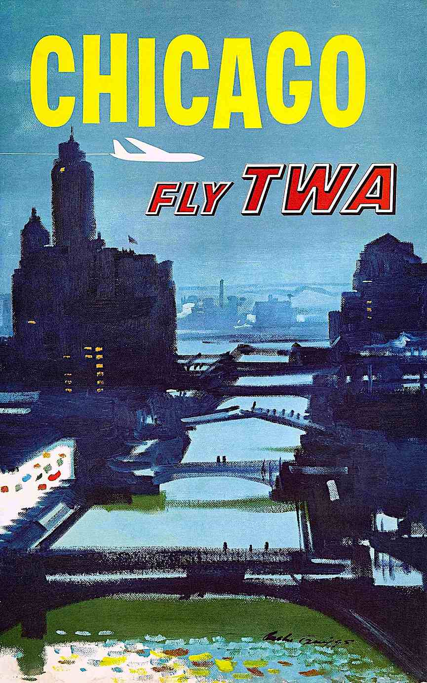 an Austin Briggs poster illustration for TWA airline 1955 Chicago