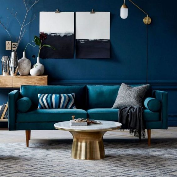 Deep blue decoration of living room