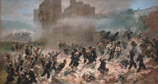 Bersaglieri soldiers storm through the walls of Rome in this 1880 painting by Carlo Ademollo