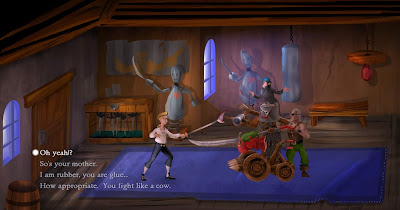 video game - The Secret of Monkey Island - Guybrush trains with Captain Smirk's Machine