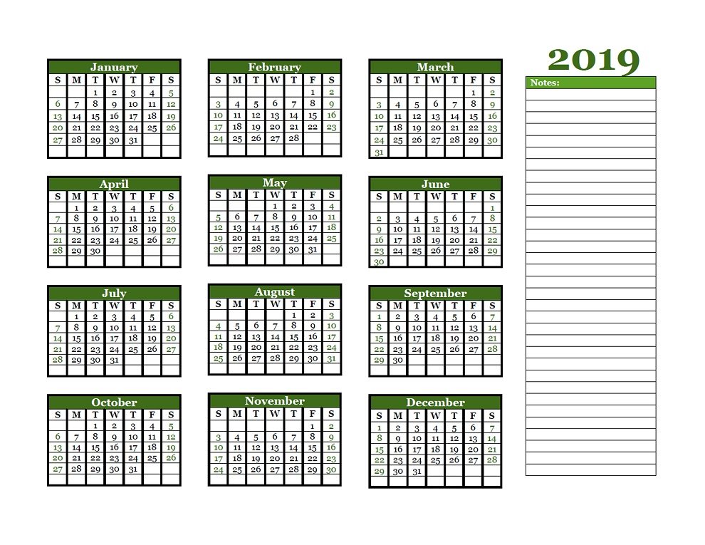 Download Template of Free Blank Annual Calendar 2019