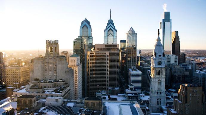 Wallpaper: Cityscape Philadelphia Sunset