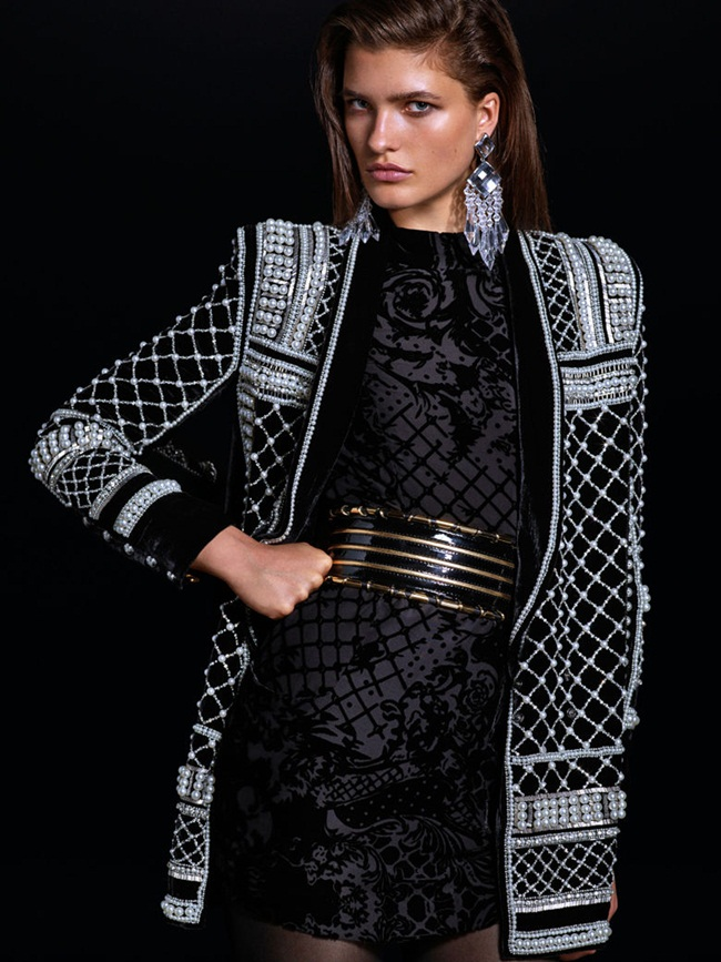 Balmain x H&M 2015 Fall Beaded Velvet Jacket Editorials