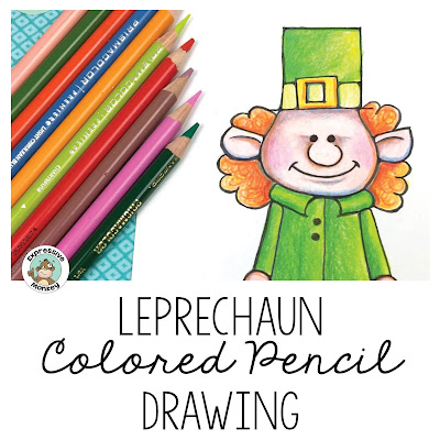 Kids love this easy, fun art lesson for St. Patrick's Day.  But you can also take the leprechaun drawing lesson beyond the cute leprechaun and turn it into a lesson about shading and creating form.  See step-by-step examples of how to add color to this leprechaun in this blog post.