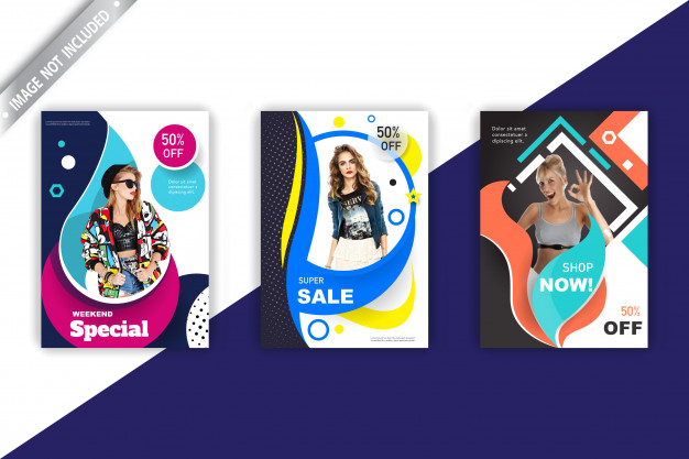 Sales flyer collection Free Vector