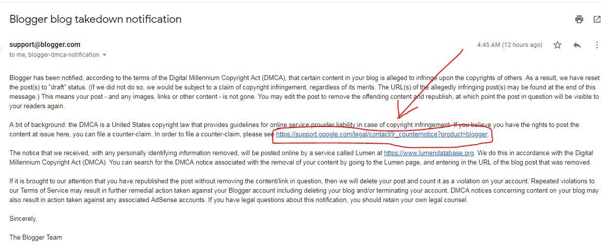 Inilah Yang Terjadi Jika Artikel Di Blog Anda Dilaporkan Pada Google DMCA