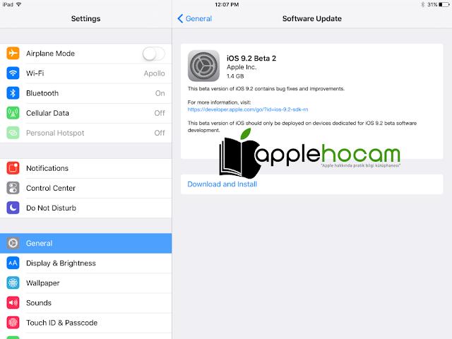 iOS 9.2 yükle