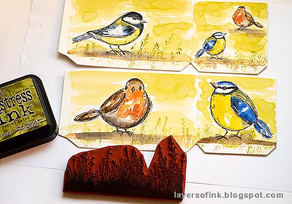 Layers of ink - DIY Watercolor Birds Pen Holder by Anna-Karin Evaldsson. Add grass.