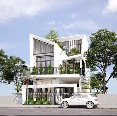 nhà 2 tầng hiện đại mạnh mẽ