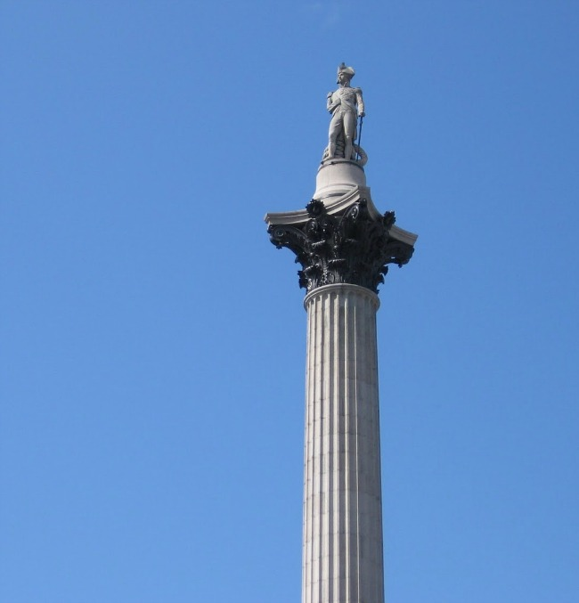 Nelsons-column-against-blue-sky-Trafalgar-Square-London