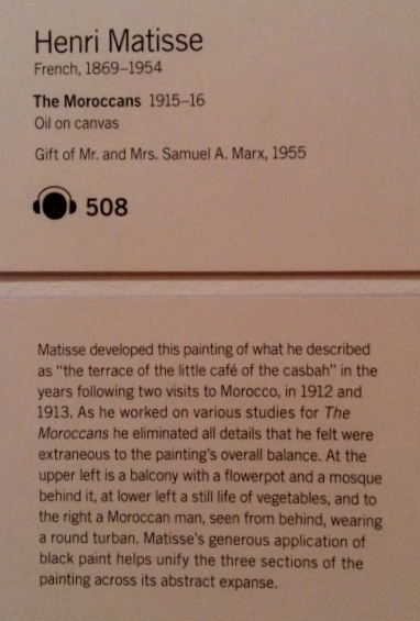 Text description of a Matisse painting at Moma in New York City