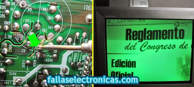 pantalla lg de color verde