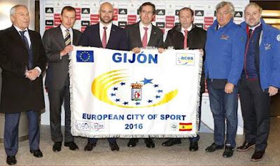 Bandera de Gijón Ciudad Europea del Deporte