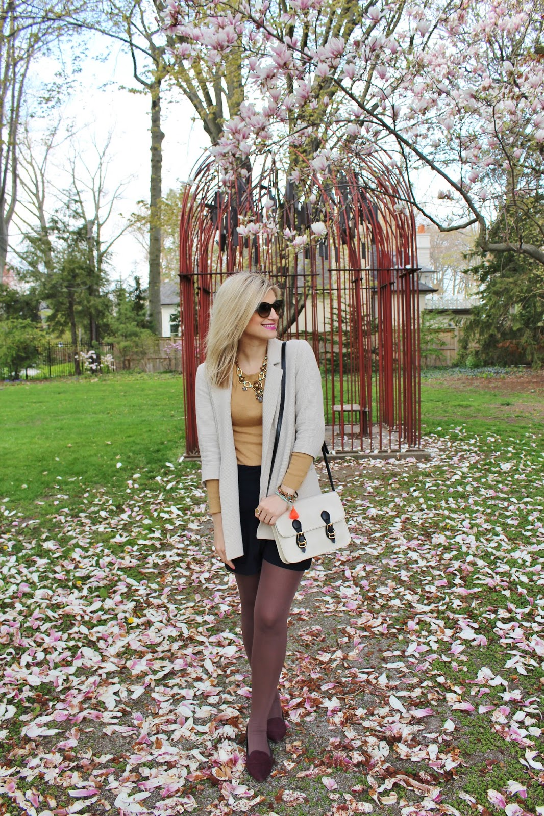 bijuleni-preppy spring outfit Zara shorts and Zara jacket