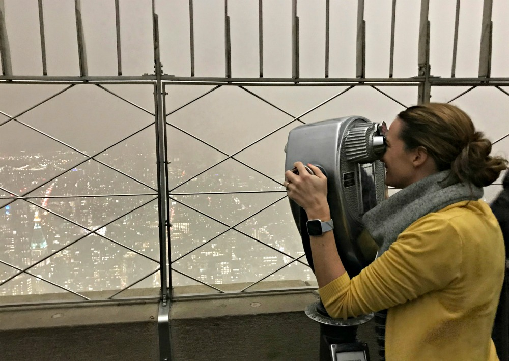 foggy new york city from top of the empire state building