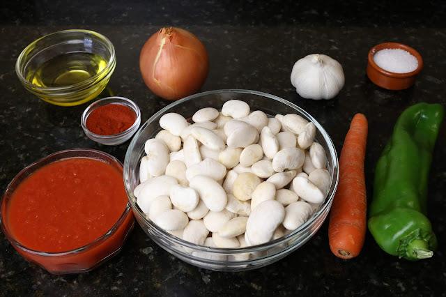 Ingredientes para alubias granja estofadas