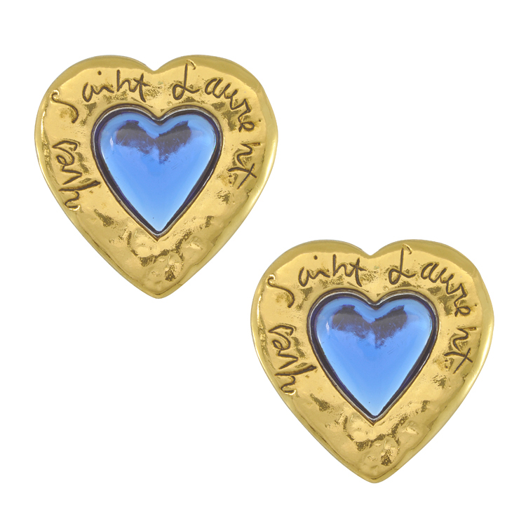 e1db1ef1c7a Take these striking blue poured glass centre heart earrings with Yves Saint  Laurent writing – they'll look oh-so-sensational for work, ...