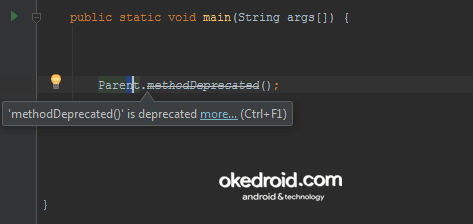 Warning untuk method yang deprecated Annotation Java