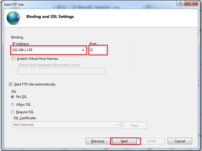 Binding and SSL Settings