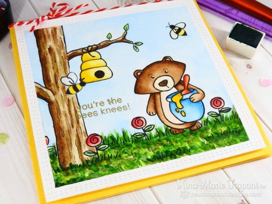 Bear and Honey card by Nina-Marie Trapani | Winston's Honeybees stamp set by Newton's Nook Designs #newtonsnook