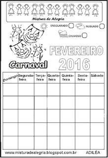Calendário fevereiro 2016 colorir