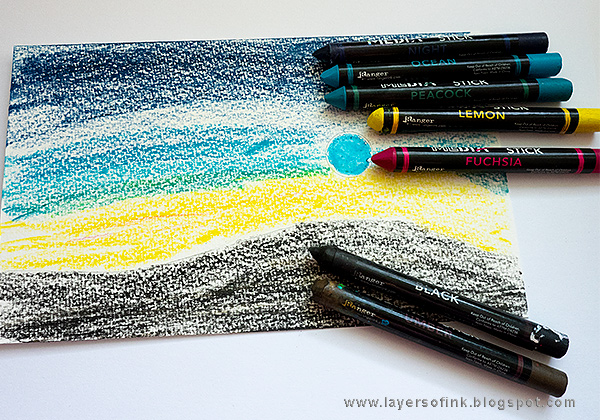 Layers of ink - African Night Watercolor Tutorial by Anna-Karin Evaldsson with Dina Wakley Scribble Sticks