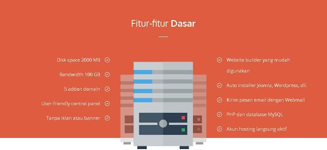 fitur dasar free hosting hostinger