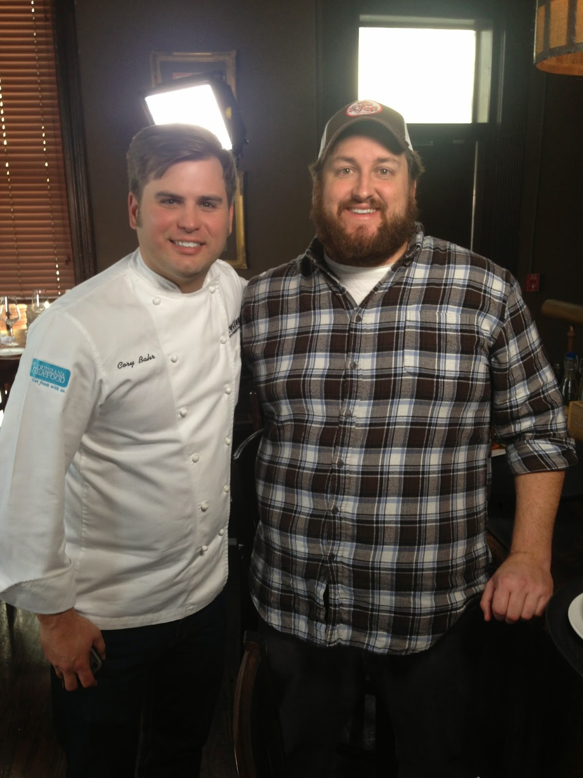 Chef Cory Bahr and Jay Ducote filming  at Restaurant Cotton in Monroe.