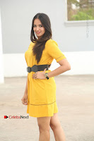 Actress Poojitha Stills in Yellow Short Dress at Darshakudu Movie Teaser Launch .COM 0039.JPG