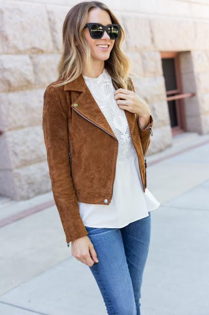 Spice Colored Suede Jacket - The Must Have Brown Suede Jacket For Fall by Colorado fashion blog