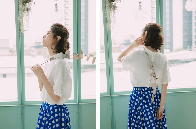 花領白色棉麻短袖上衣