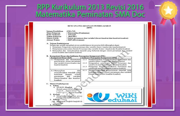 RPP Matematika Peminatan SMA Kurikulum 2013 Revisi 2016 Doc