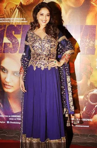Madhuri Dixit Blue Georgette & Raw Silk Designer Gown