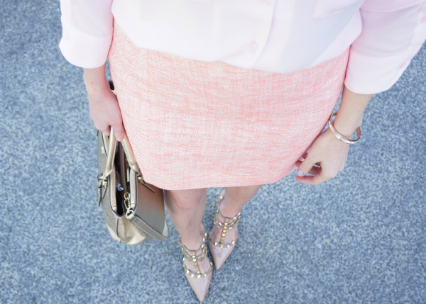strawberry chic, J. Crew Outlet, tweed skirt, rockstar studs, sole society