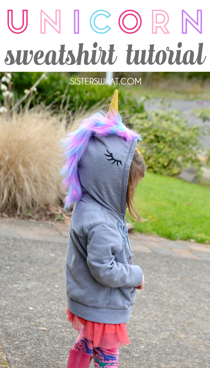 DIY unicorn sweatshirt tutorial via sisters, what
