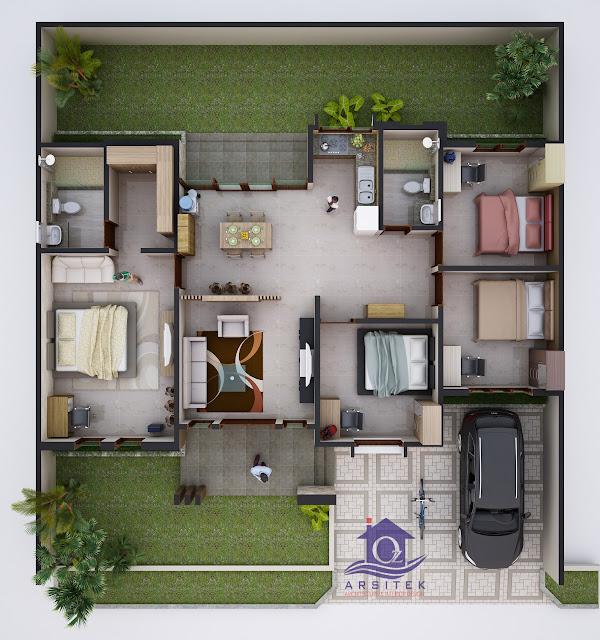 Desain Aksonometri Rumah Bapak Wawan di Lombok