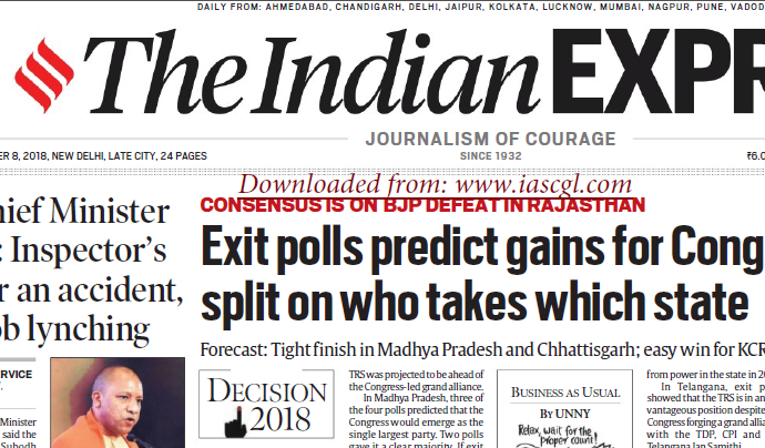 The Indian Express ePaper Download 8th December 2018