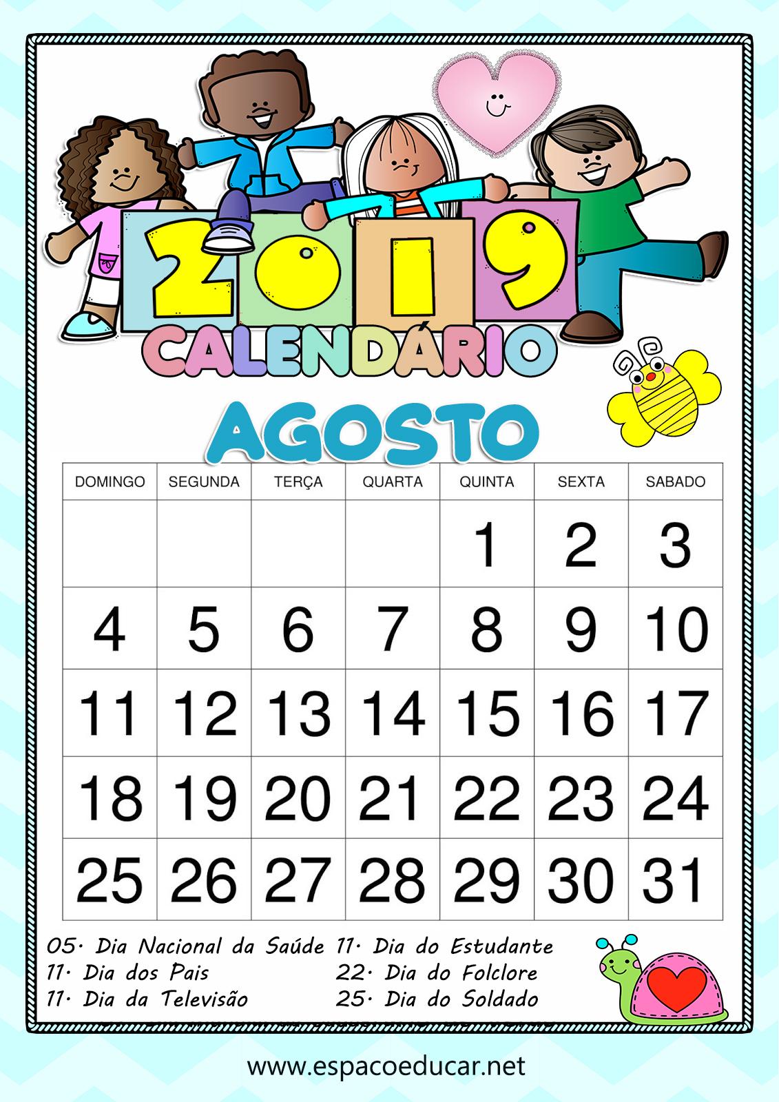 Calendario Agosto 2019 Con Feriados.Calendario Agosto De 2019 Para Imprimir Com Feriados E Datas
