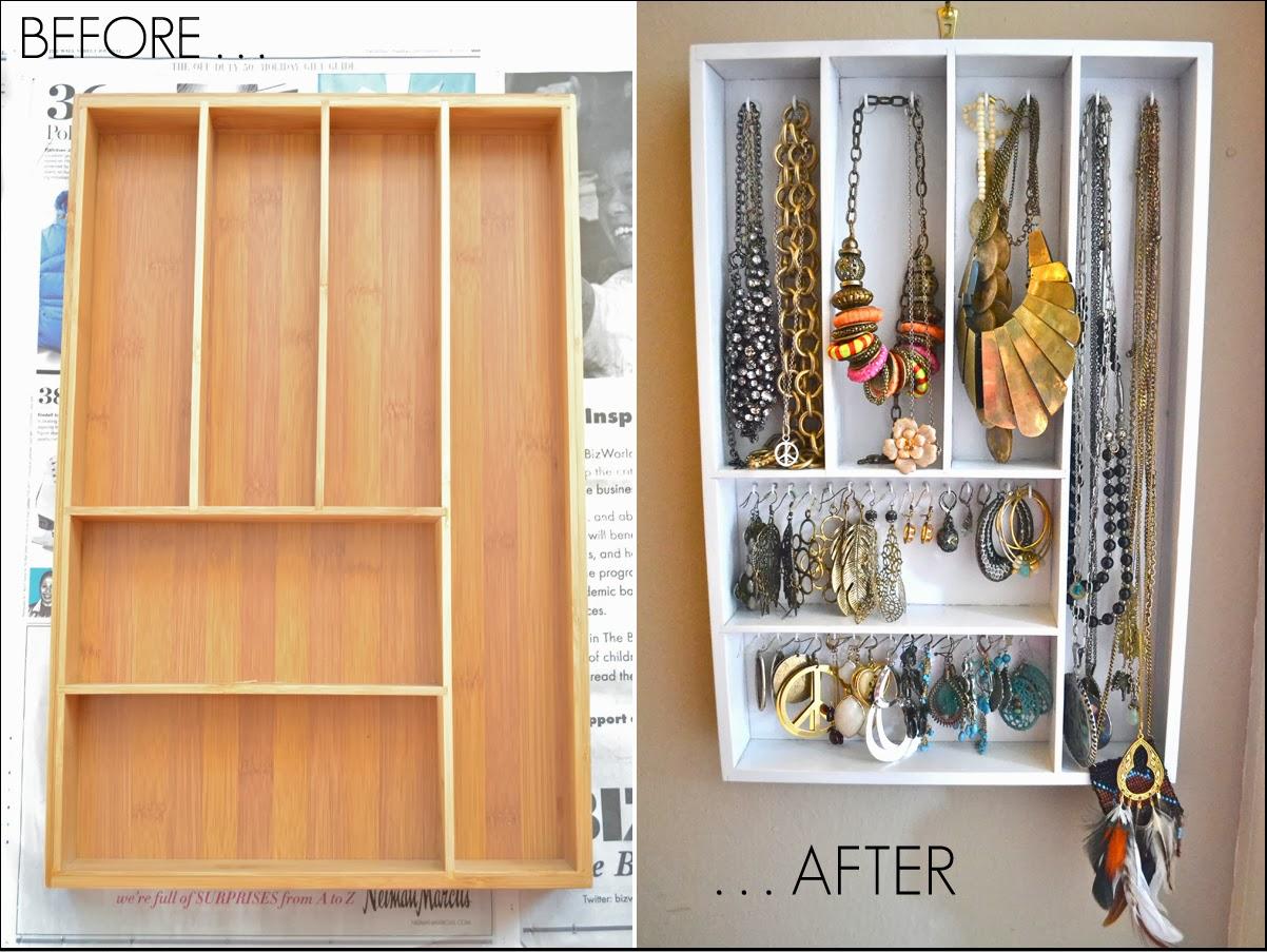 Fussy Monkey Business: Old Drawer Turned Jewelry Organizer