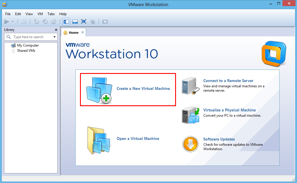 Buka VM Ware Workstation 10 > Create a New Virtual Machine