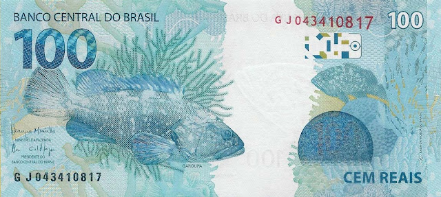 Brazilian Currency 100 Reals banknote 2010 Brazil's Marine Life Dusky Grouper coral reef