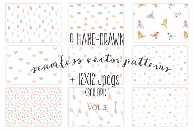 6 packs de fonds - 9 colorful seamless patterns par The little cloud