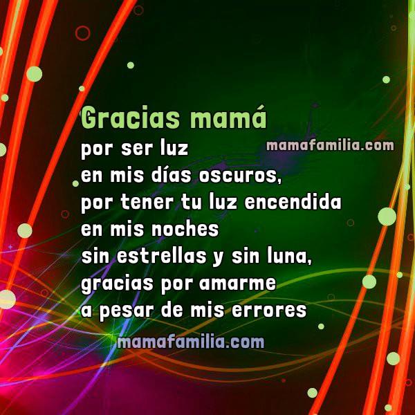 Frases de agradecimiento a mi mamá, gracias madre, imágenes. Feliz día madre, Mensaje corto por Mery Bracho.