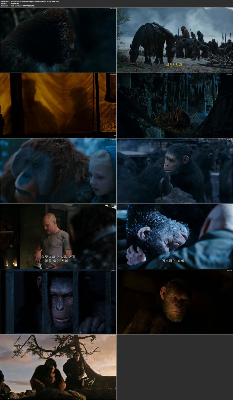 War For The Planet Of The Apes 2017 Hindi 490MB HDRip 480p at movies500.site