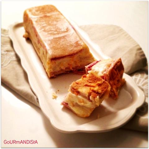 Gourmandista croque cake au jambon et la b chamel - Croque monsieur au four bechamel ...