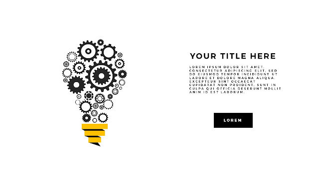Gears and Light bulb Diagram Free PowerPoint Template White Background