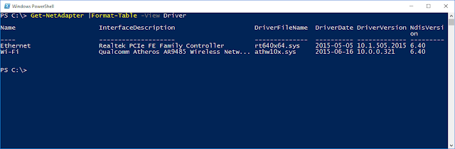 PowerShell cmdlet Get-NetAdapter | Format-Table –View Driver