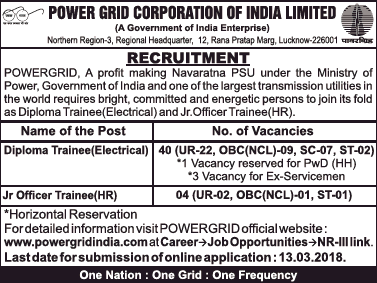 Power Grid Recruitment 2018 official notice