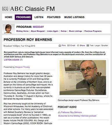 C A M O U P E D I A: Australian Radio Interview | Roy R  Behrens