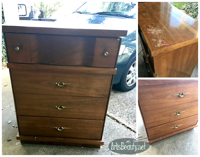 MID CENTURY MODERN DRESSER MAKEOVER BEFORE AND AFTER RESTORE REFINISH REVIVE ARTISBEAUTY.NET GENERAL FINISHES